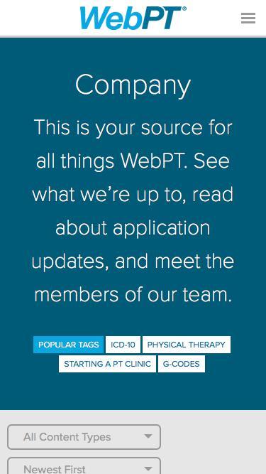 Screenshot of Blog  webpt.com - Category - Company   WebPT