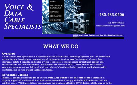 Screenshot of Services Page vdcsinc.com - Cable Infrastructure Installer, Scottsdale AZ - captured Nov. 7, 2018