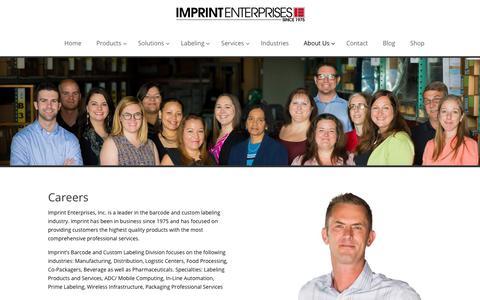 Screenshot of Jobs Page imprint-e.com - Imprint Enterprise Careers - Imprint Enterprises - captured Feb. 11, 2018