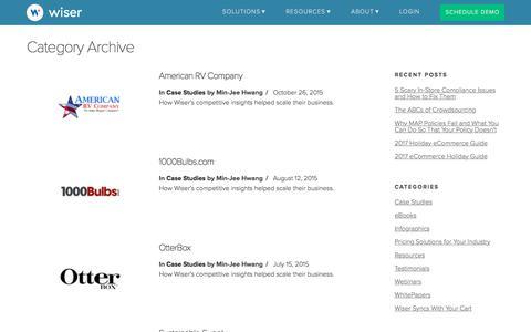 Screenshot of Case Studies Page wiser.com - Case Studies Archives - Page 2 of 3 - Wiser - captured Nov. 9, 2017