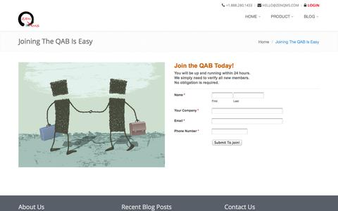 Screenshot of Signup Page theqab.com - The QAB - Joining The QAB Is Easy - captured Oct. 1, 2014