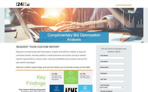 Screenshot of Landing Page 247.ai - Complimentary Bid Optimization Analysis - captured Nov. 26, 2018