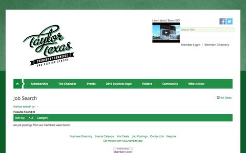 Screenshot of Jobs Page taylorchamber.org - Job Search - Greater Taylor Chamber of Commerce & Visitor Center, TX - captured Nov. 28, 2016
