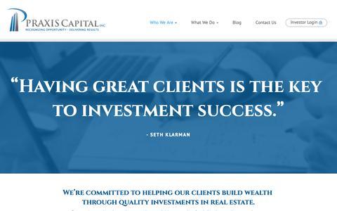 Screenshot of Testimonials Page praxcap.com - Testimonials - Praxis Capital - Real Estate Investment Company - captured Sept. 29, 2018