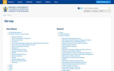 Screenshot of Site Map Page massey.ac.nz - Sitemap - Massey University - captured Sept. 18, 2014