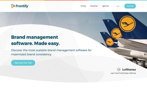 Screenshot of Home Page frontify.com - Frontify - Software for Brand Style Guides, UX Pattern Libraries & Visual Collaboration - captured May 3, 2017