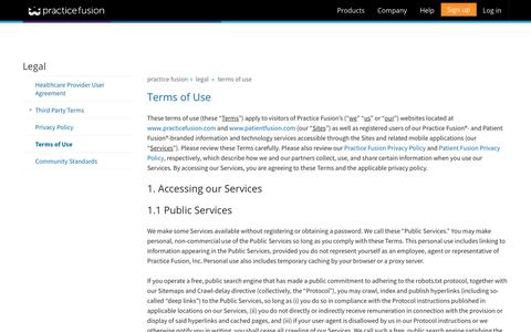 Screenshot of Terms Page practicefusion.com - Practice Fusion | Terms of Use - captured Oct. 11, 2017
