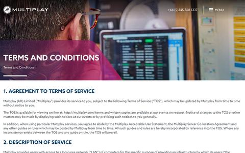 Screenshot of Terms Page multiplay.com - Terms and Conditions - Multiplay - captured June 22, 2017