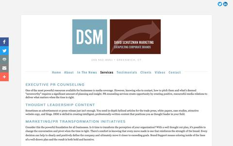Screenshot of Services Page davidschutzmanmarketing.com - Services — David Schutzman Marketing - captured Oct. 12, 2017