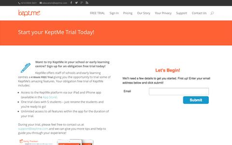 Screenshot of Signup Page Trial Page keptme.com - FREE TRIAL | KeptMe - captured Oct. 23, 2014