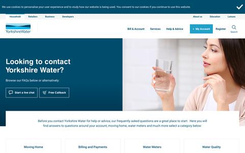 Screenshot of FAQ Page yorkshirewater.com - Contact Yorkshire Water - captured Sept. 21, 2018