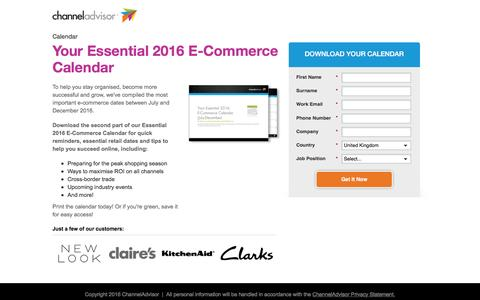 Screenshot of Landing Page channeladvisor.com - Your Essential 2016 E-Commerce Calendar - captured July 21, 2016
