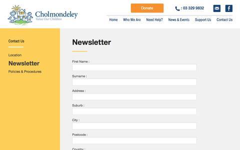 Screenshot of Signup Page cholmondeley.org.nz - Newsletter Signup Cholmondeley Children's Centre » Cholmondeley Children's Centre - captured July 17, 2018