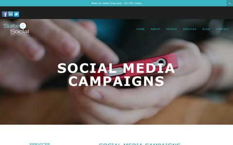Screenshot of Services Page suite4social.com - Social Media Campaigns — Suite 4 Social - captured Oct. 7, 2014