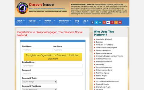 Screenshot of Signup Page diasporaengager.com - International Diaspora Engagement Network Platform - captured Aug. 1, 2016