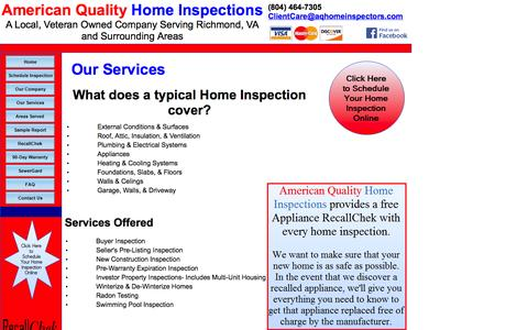 Screenshot of Services Page aqhomeinspectors.com - Home Inspection Services in the Richmond, VA  Area - captured Oct. 4, 2014
