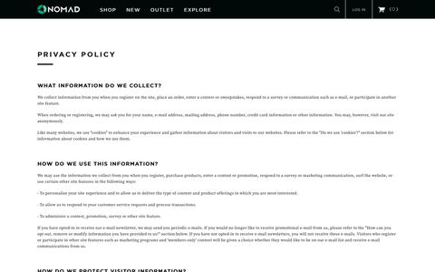 Screenshot of Privacy Page hellonomad.com - Privacy Policy - captured March 18, 2017