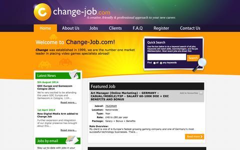 Screenshot of Home Page change-job.com - Change Job - Home - captured Oct. 2, 2014