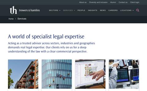 Screenshot of Services Page trowers.com - Services -Trowers & Hamlins International Law Firm - captured July 12, 2019