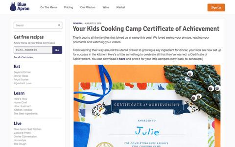 Screenshot of blueapron.com - Your Kids Cooking Camp Certificate of Achievement | Blue Apron Blog - captured Aug. 24, 2016