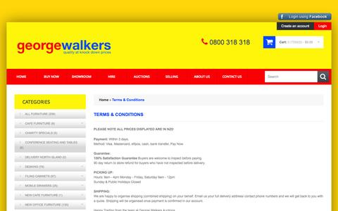 Screenshot of Terms Page georgewalkers.co.nz - Terms & Conditions - captured Oct. 2, 2014