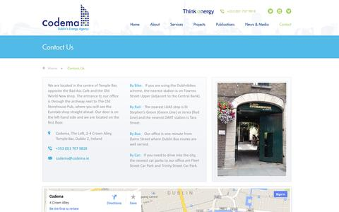Screenshot of Contact Page codema.ie - Contact Us - Codema, Dublin - captured Oct. 3, 2014