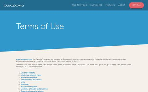 Screenshot of Terms Page buyapowa.com - Terms of Use - Buyapowa - captured July 6, 2017