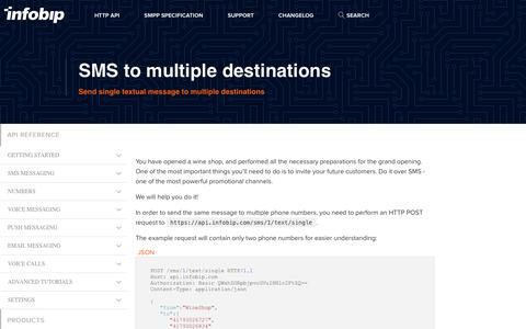 SMS to multiple destinations