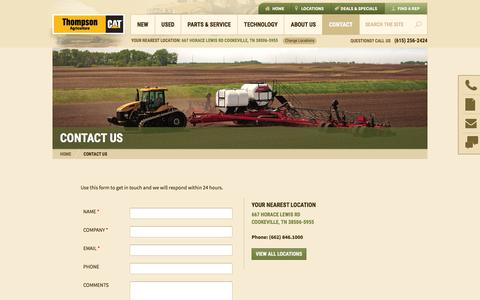 Screenshot of Contact Page thompsonagriculture.com - Contact Us - Thompson Agriculture - captured July 2, 2016