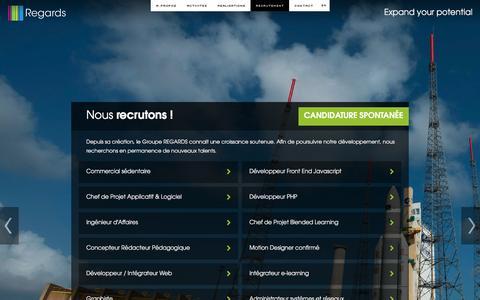Screenshot of Jobs Page groupe-regards.com - SociŽtŽ Regards - SpŽcialiste des contenus innovants et des nouvelles interfaces - captured Dec. 13, 2015
