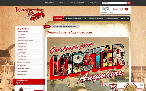 Screenshot of Contact Page lobsteranywhere.com - Contact - LobsterAnywhere.com - captured Sept. 1, 2017