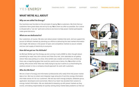 Screenshot of About Page yesenergy.com - About — Yes Energy - captured Dec. 11, 2018