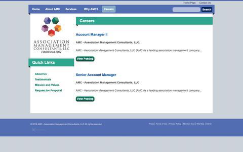 Screenshot of Jobs Page amc-texas.com - AMC - Association Management Consultants, LLC - Careers - captured Nov. 12, 2018