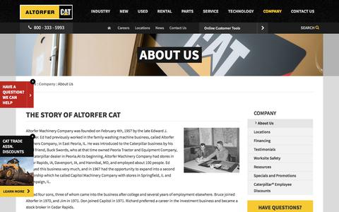 Screenshot of About Page altorfer.com - About Us | Altorfer Cat - captured Aug. 16, 2017