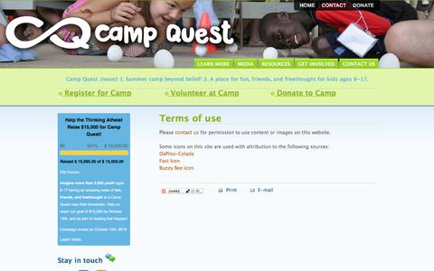 Screenshot of Terms Page campquest.org - Terms of use | Camp Quest - captured Oct. 20, 2016