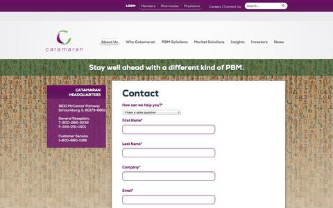 Screenshot of Contact Page catamaranrx.com captured Nov. 5, 2014
