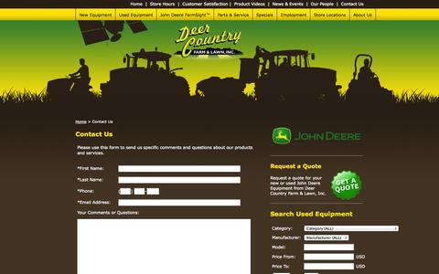 Screenshot of Contact Page deercountry.net - Deer Country Farm & Lawn, Inc. - Contact Us - captured Nov. 3, 2014