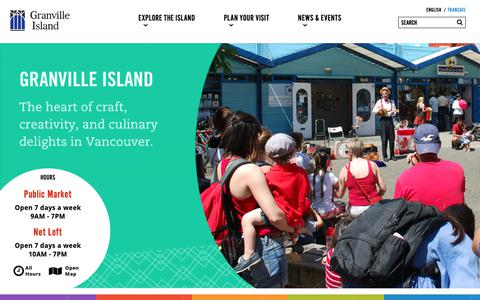 Screenshot of Home Page granvilleisland.com - Granville Island | - captured Sept. 30, 2018