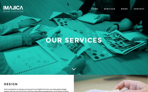 Screenshot of Services Page imajica.com - Our Services - captured Feb. 10, 2016