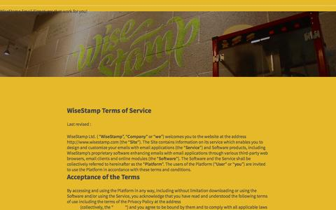 Screenshot of Terms Page wisestamp.com - WiseStamp Terms of Service - captured Oct. 10, 2016