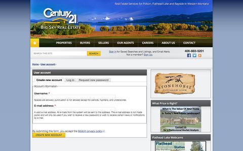 Screenshot of Signup Page century21bigsky.com - User account | CENTURY 21 Big Sky Real Estate - captured March 7, 2016