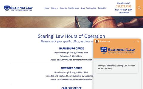 Screenshot of Hours Page scaringilaw.com - Hours | Harrisburg, PA Lawyer - captured Oct. 5, 2017
