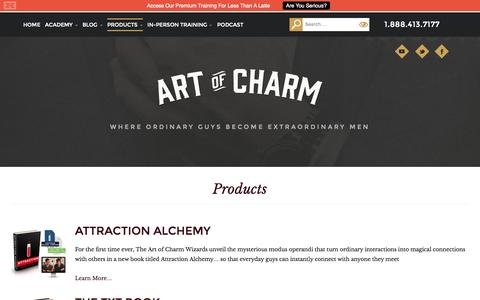 Screenshot of Products Page theartofcharm.com - Products - The Art of Charm - captured Sept. 25, 2014