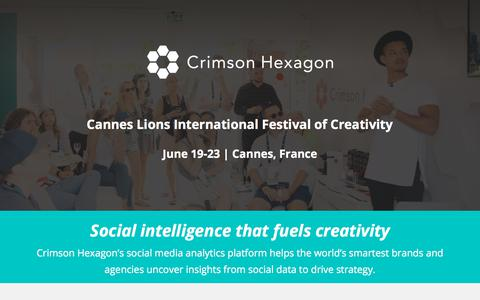 Screenshot of Landing Page crimsonhexagon.com - Crimson Hexagon @ Cannes Lions - captured March 3, 2018