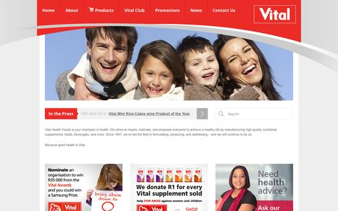 Screenshot of Home Page vital.co.za - Vital - Vitamins, Supplements, Natural Food & BeveragesVital Health Foods - captured Oct. 1, 2014