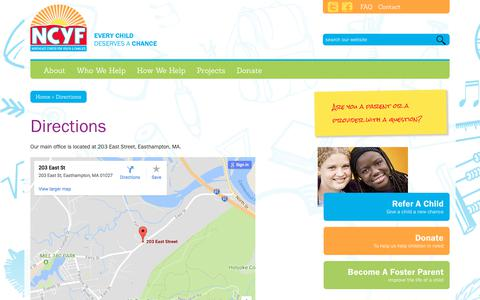 Screenshot of Maps & Directions Page ncyf.org - Directions - Northeast Center for Youth and Families - captured Oct. 22, 2017