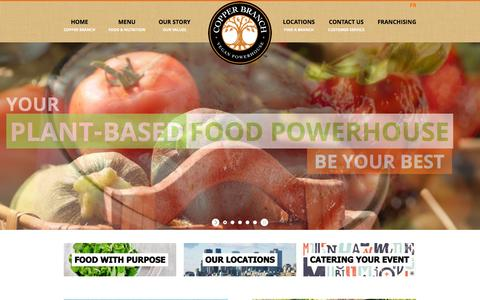 Screenshot of Home Page copperbranch.ca - Copper Branch | You Are More Vegan Than You Think! - captured Jan. 27, 2015