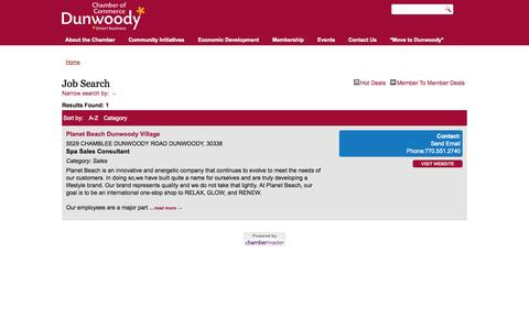 Screenshot of Jobs Page dunwoodycommerce.org - Job Search - Dunwoody Jobs | Dunwoody Chamber of Commerce - captured Oct. 5, 2014