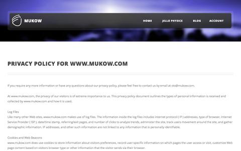 Screenshot of Privacy Page mukow.com - Privacy Policy | mu-kow - captured Oct. 3, 2014