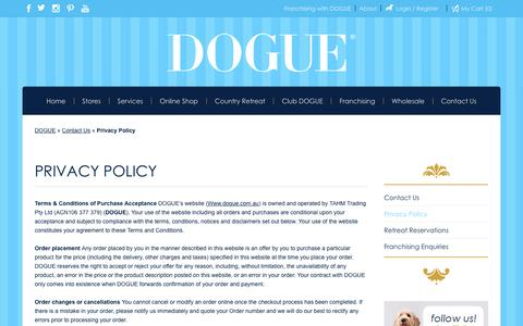 Screenshot of Privacy Page dogue.com.au - Privacy Policy - DOGUE - captured May 10, 2017